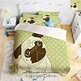 Homenon Bedding 4 Piece Sheet,Cute Little Dog with Tilted Head with Lovely Expression I Love Pugs Pet Decorative,Avocado Green Baby Blue,Full Size,Suitable for Families,Hotels