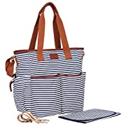 Diaper Bag by Hip Cub - Weekender Tote - Designer Canvas W/ Cute Baby Change Pad