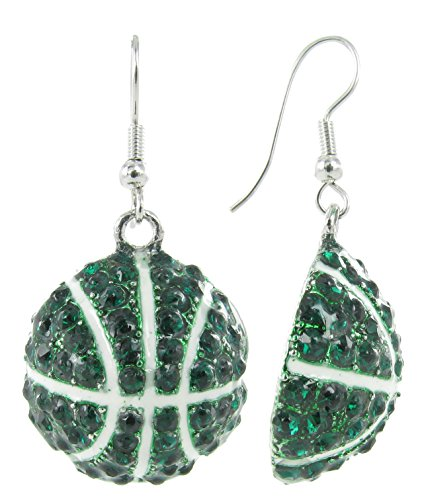 Basketball Dangle Fish Hook Earrings - Dark Green Crystals with White Enamel Stripes