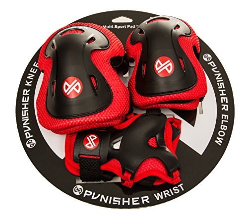 Punisher Skateboards Boys Elbow, Knee, and Wrist Pad Set for Skateboarding or BMX, Youth Ages 8+, Red -  9244