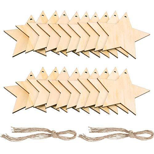 Pangda 20 Packs Wooden Star Cutouts Hanging Ornaments with 20 Packs Strings for Wedding, DIY, Craft, Festival, Decoration, Embellishments ()