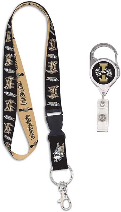 University of Delaware Blue Hens 1 Lanyard Key Ring and 1 Premium Badge Reel WinCraft Bundle 2 Items