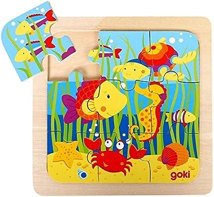 Goki Juego de Mesa Puzzle Madera 9 Piezas Grandes Modelo Animales MAR Primera Infancia Niños +2 años: Amazon.es: Juguetes y juegos