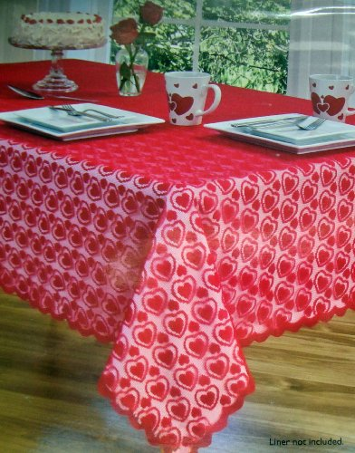 Red Lace Valentine Heart Dance Tablecloth, 52-by-52 Inch (Lace Square Dance)