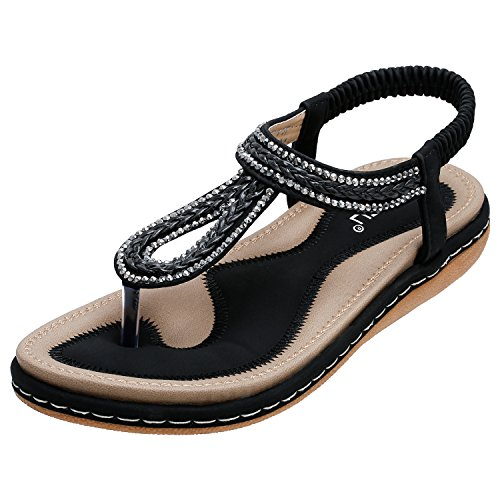 SANMIO Women Summer Flat Sandals, Ankle Strap Thong Bohemia Beach Shoes Gladiator Flip Flop Shoes
