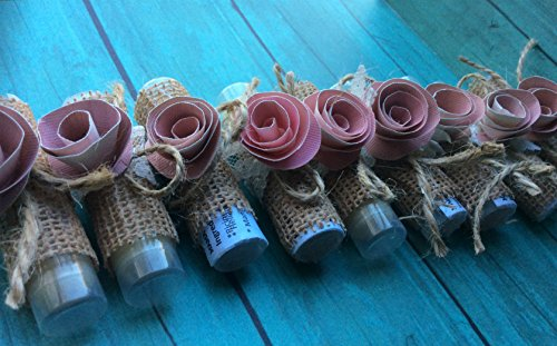Lip balms favors - set of 10 wedding favors, burlap, rustic, fall theme, autumn, chic, country wedding - Shabby Chic
