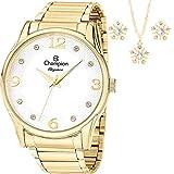 Relógio Feminino Dourado Champion Cn26215W + Kit Bijuteria