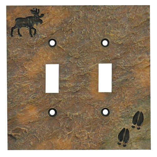 Moose Stone Finish Lodge Double Switch Cover - Rustic Decor