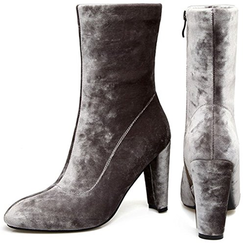 With Booties Faux Pointed Suede Ankle Women's Zipper Easemax Side High Toe Grey High Sexy Chunky Heeled Hp0w7qF