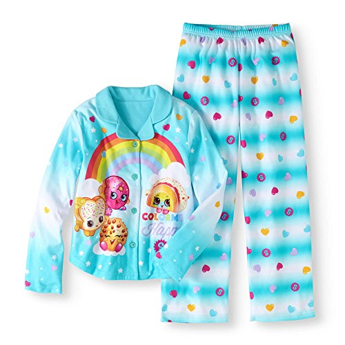 (Shopkins Girls' Button Down Top and Bottom Pajama 2-Piece Set)