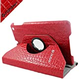 SANOXY 360 Degrees Rotating Stand Leather Smart Case for Apple iPad 2 Red Luxury Crocodile Pattern