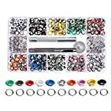 Bestgle 300 Sets 6mm Inside Diameter Grommet Kit Metal Eyelet Kit 3 Pieces Grommet Setting Tools with Storage Box for Shoe Clothes Leather Crafts and DIY Projects, 10 Colors
