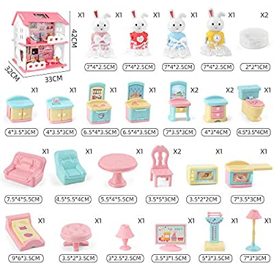 25 PCS Doll House for Little Girls, 2-Story Dollhouse and Furniture Kit with 18 Detailed Furniture and Dolls, Pretend Play House, Ideal Gift Choice for Toddlers, Kids of 2, 3, 4, 5, 6, 7 Years: Toys & Games