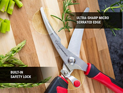 Heavy Duty Kitchen Scissors | Dishwasher Safe Stainless Steel | MultiPurpose Professional Grade Poultry Shears - Great for Cutting Meat, Chicken, Bone, Fish, Game, Floral Arrangements and Other Food by Culinary Obsession (Image #5)