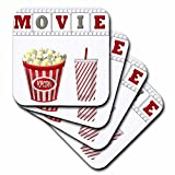 3dRose The Word Movie with Popcorn and Soda Illustration in Red, White, and Gray - Soft Coasters, Set of 8 (CST_222695_2)