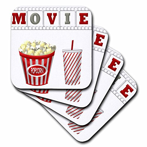 3dRose The Word Movie with Popcorn and Soda Illustration in Red, White, and Gray - Soft Coasters, Set of 8 (CST_222695_2) by 3dRose