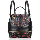 PIJUSHI Designer Women's Backpacks Floral Leather Mini Backpack Handbags (65363, Black)