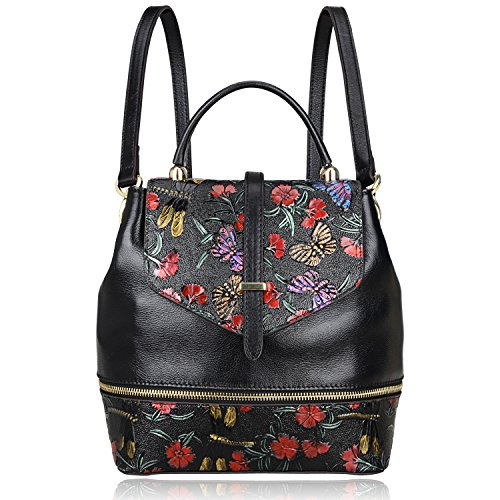 PIJUSHI Designer Women's Backpacks Floral Leather Mini Backpack Handbags (65363, Black) by PIJUSHI