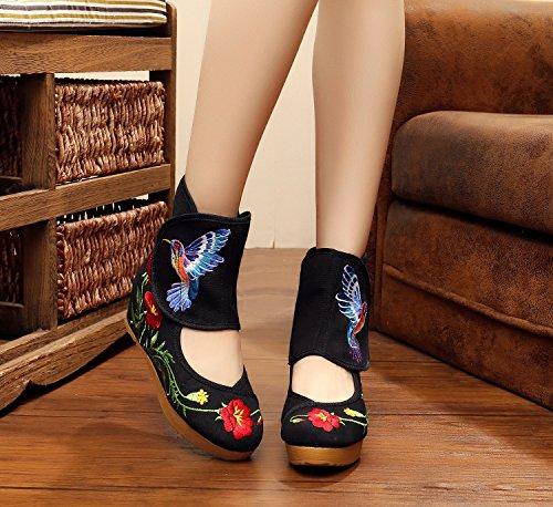 Chinese Beijing seven 5 Centimètres Ancient vieux Vent Et Folk Thirty De Bottes Peu Pente Chaussures Tissu Danse Élevé Khskx Courte Noir Des Unique 5wBPE