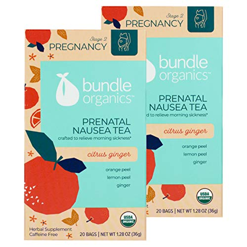 Bundle Organics Prenatal Nausea Tea, Stage 2 Pregnancy, Citrus Ginger, 20 Tea Bags (Pack of 2)