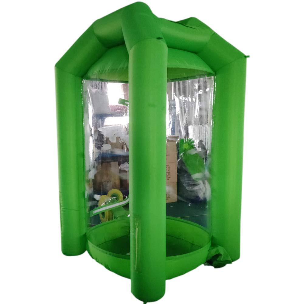 SAYOK Inflatable Money Machine Booth Inflatable Cash Cube Machine with Air Blower for Event, Promotion(Green)