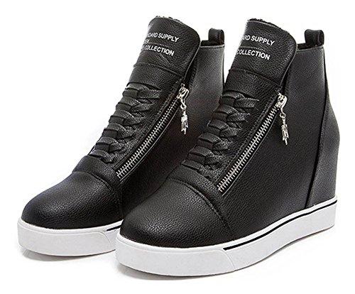 Aisun Donna Casual Punta Tonda Cerniera Lampo Piattaforma Sneakers Nascosta Cuneo Alte Scarpe Stivaletti Nero