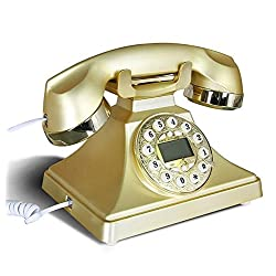 Old - fashioned telephone European - style office antique base machine with hands - free metal rotation American retro phone , gold , #1