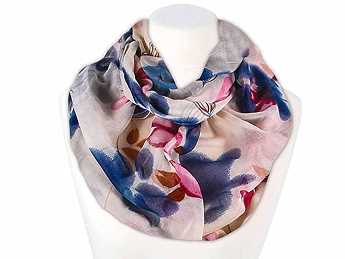 leichter XXL Schlauchschal Infinity Loop Schal Rundschal Blumen Flower TubeScarf