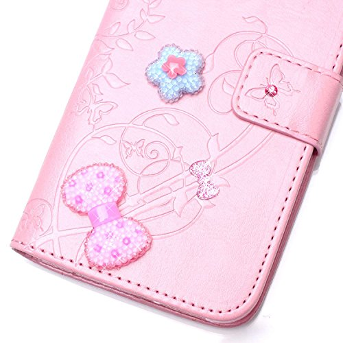 Meet de pour Apple iphone 5S / iphone SE Folio Case ,Wallet flip étui en cuir / Pouch / Case / Holster / Wallet / Case, (série gaufré) Amour Bow forage autocollants décorés pour Apple iphone 5S / ipho