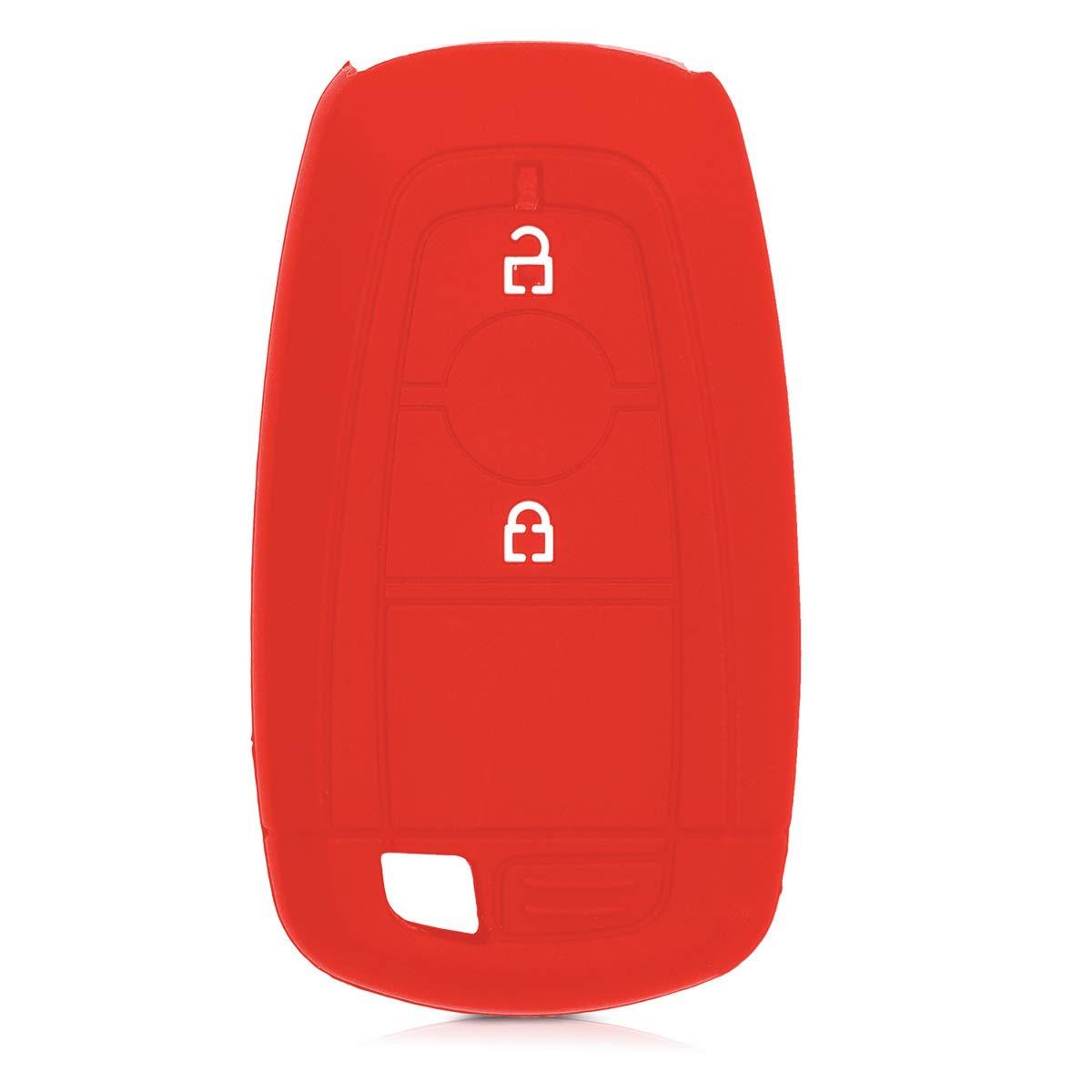 - Case Mando de Auto Silicona Rojo kwmobile Funda de Silicona para Llave Keyless Go de 2 Botones para Coche Ford Carcasa Protectora de Suave