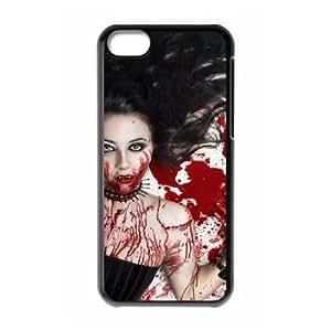Vampire Series,iPhone 5C Case,Vampire Bloody girl Phone Case For iPhone 5C[Black]