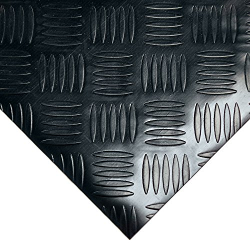 Rubber-Cal ''Diamond-Grip Resilient Flooring Mat - 2mm x 4ft x 15ft Rubber Flooring Rolls - Black by Rubber-Cal (Image #2)