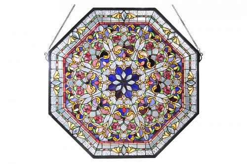 "Meyda Tiffany 107222 Front Hall Floral Stained Glass Window, 25"" Width x 25"" Height"