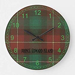 McC538arthy 15 Inch Wooden Round Wall Clock, Prince Edward Island Tartan Christmas Clock Farmhouse Wall Decor for Kitchen, Living Room, Bedroom, Office
