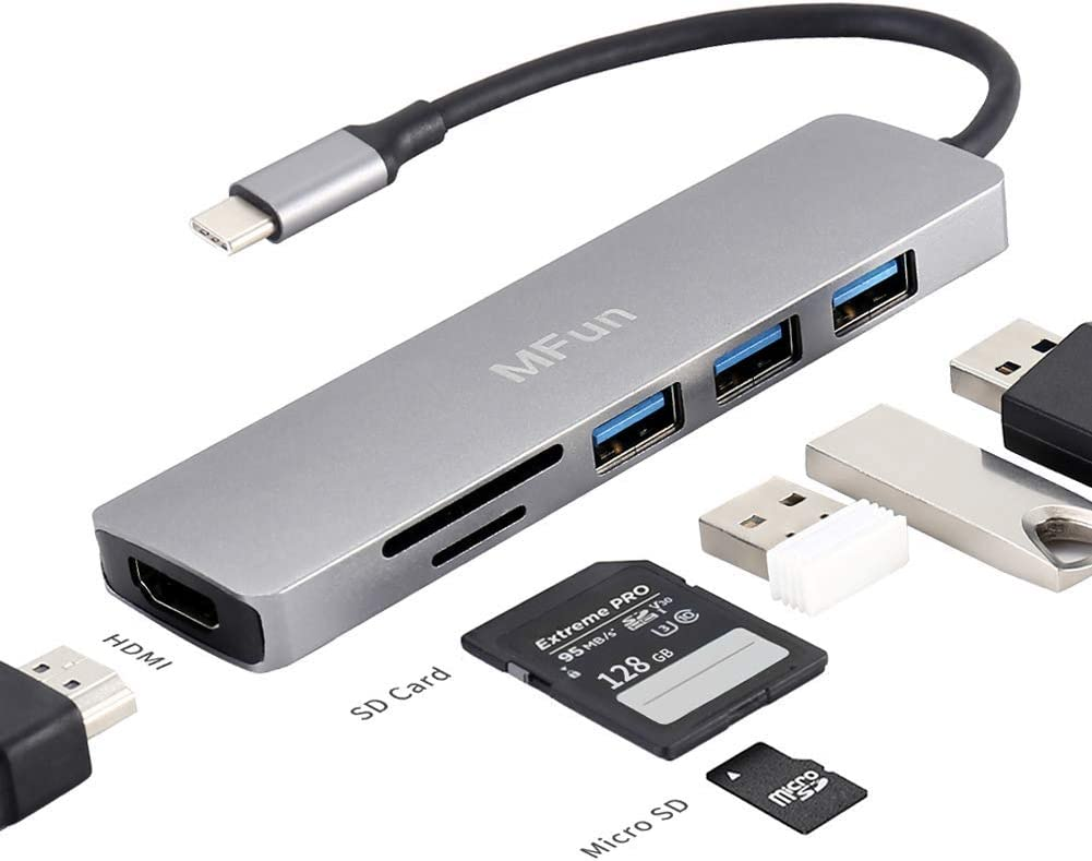 USB C Hub,MFun 6 in 1 USB C to HDMI Adapter with USB 3.0 Port,SD/Micro SD Card Reader,4K HDMI Compatible for MacBook Pro Air USB C Laptops and Other Type C Devices