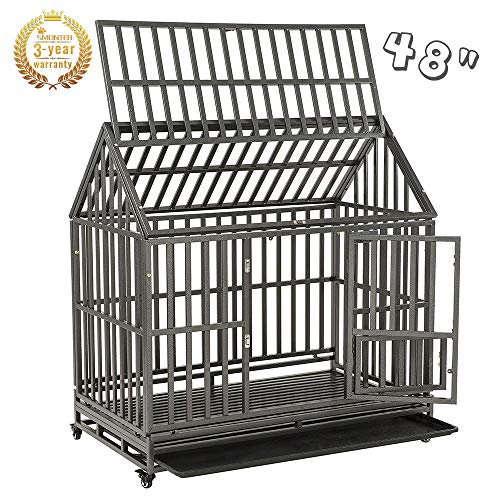 SMONTER Heavy Duty Strong Metal Dog Cage Pet...