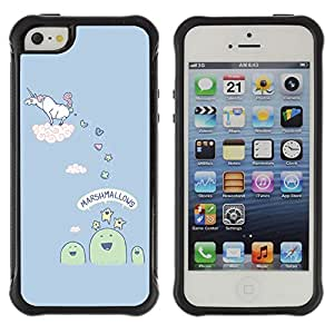 Hybrid Anti-Shock Defend Case for Apple iPhone 5 5S / Unicorn Making Candy