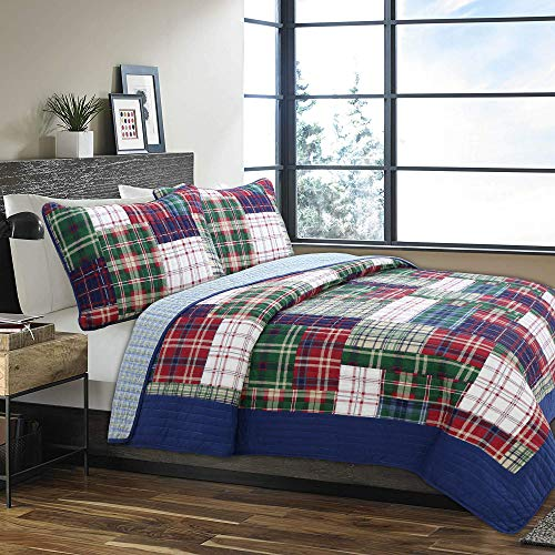 Cozy Line Home Fashions Nate Patchwork Navy/Blue/Green/Red Plaid Cotton Quilt Bedding Set, Reversible Coverlet,Bedspread Gifts for Boy/Men/Him (England Patchwork, Queen - 3 Piece) Boys Queen Quilt Bedding