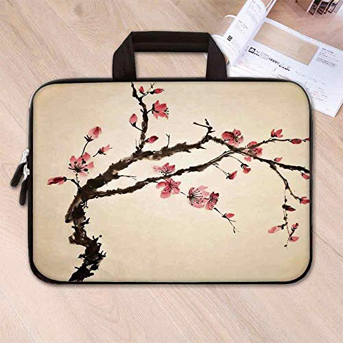 Japanese Lightweight Neoprene Laptop Bag,Traditional Chinese Paint of Figural Tree with Details Brushstroke Effects Print for Laptop Tablet PC,17.3''L x 13''W x 0.8''H - Figural Light