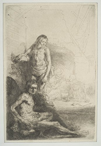 "Poster - Nude Man Seated and Another Standing with a Woman and a Baby Lightly Etched in Background 17"" x 24"""