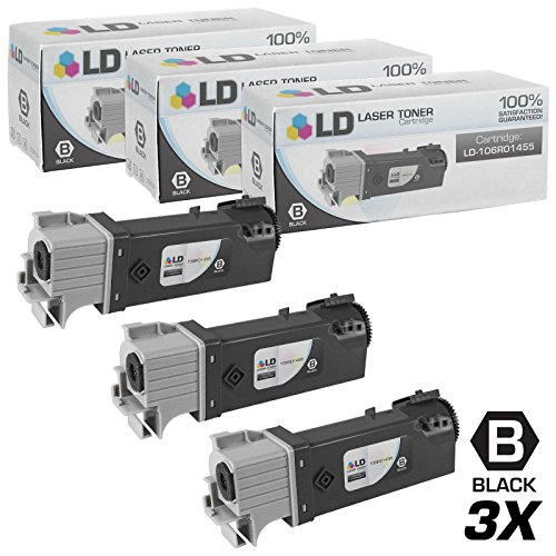 LD Compatible Toner Cartridge Replacement for Xerox Phaser 6128 106R1455 (Black, 3-Pack)