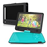 10.1 Inch HD Screen Portable DVD/CD Player for Kids with 5-Hour Built-in Rechargeable Battery and Headrest Mount Case-Light Teal Blue