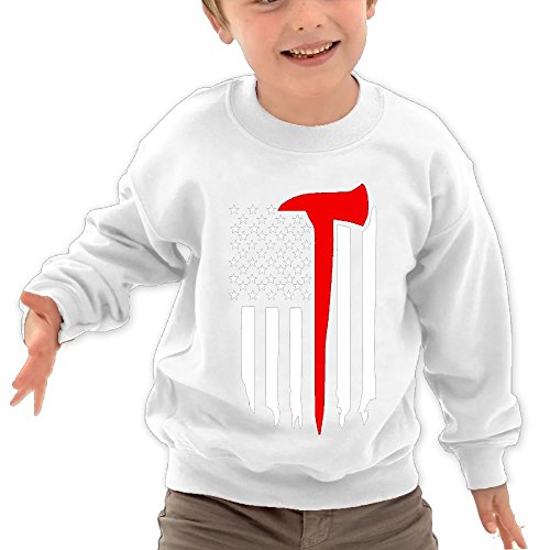 Puppylol Thin Red Line Firefighter Axe Kids Classic Crew-Neck Pullover Sweatshirt White 5-6 Toddler