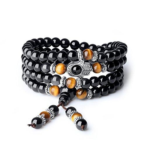 COAI 108 Mala Obsidian Stone Hamsa Hand Bracelet Necklace