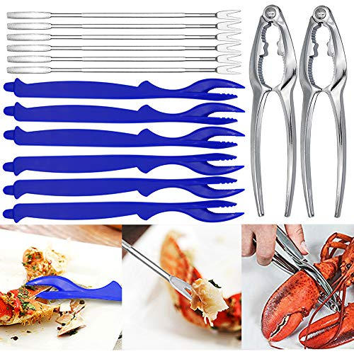 14 Pcs Seafood Tools Set, Angela&Alex Crab Feast Nutcracker Shrimp Deveiner Crab Pecan Leg Crackers Kits Opener Shellfish Kitchen Tableware Accessories (6 Forks + 2 Crab Crackers + 6 Lobster Shellers)