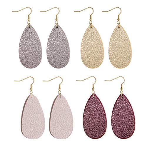 (Adramata 4 Pairs Teardrop Leather Earrings for Women Girls Dangle Drop Earrings Set)