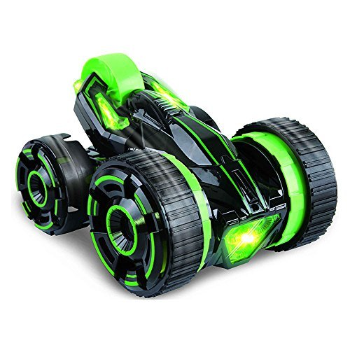 (ZHMY Remote control Stunt Car Double-face work 30km/h rapid stunt roller car all terrian suitable for competition with light,Green)
