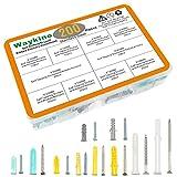 Waykino Plastic Self Drilling Drywall Anchors, Ribbed Wall Anchor Screws Assortment Set Kit, [200-Pack]