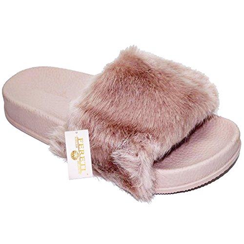 FERETI Plat Fourrure Femmes Sandales Mules Claquettes Rose Chaussons Pantoufles Tongs 10