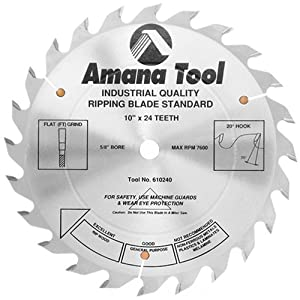 amana saw blades. amana tool 610240 ripping standard 10-inch x 24 tooth ft 5/8 bore saw blade blades m